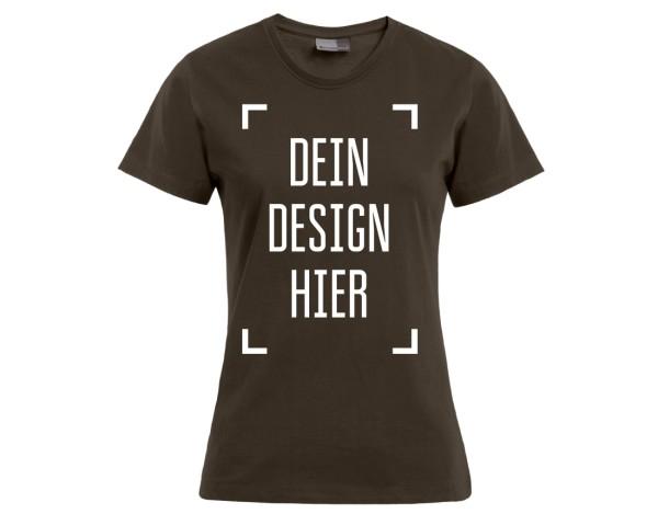 Premium Damen T-Shirt Braun - Flamingo Druckparadies