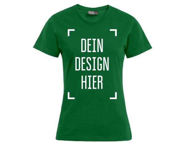 Premium Damen T-Shirt Dunkelgrün - Flamingo Druckparadies