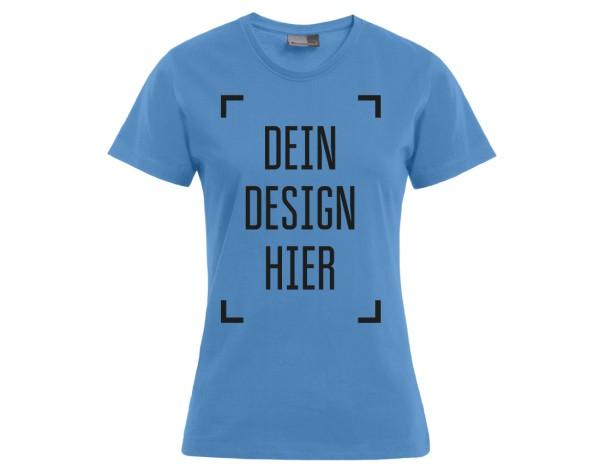 Premium Damen T-Shirt Himmelblau - Flamingo Druckparadies