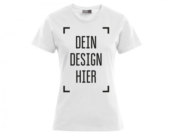 Premium Damen T-Shirt Weiß - Flamingo Druckparadies
