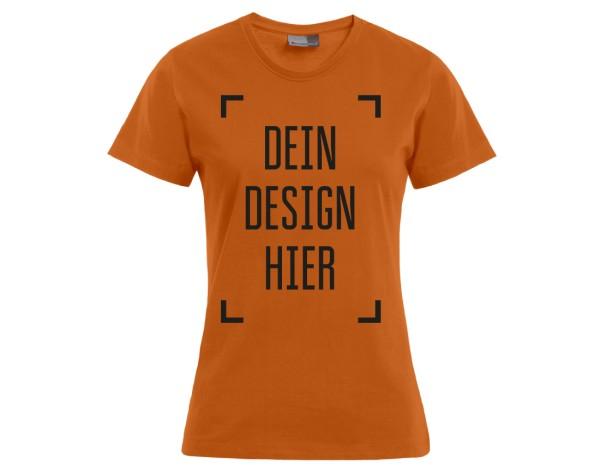 Premium Damen T-Shirt Orange - Flamingo Druckparadies