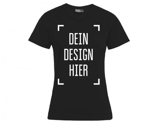 Premium Damen T-Shirt Schwarz - Flamingo Druckparadies