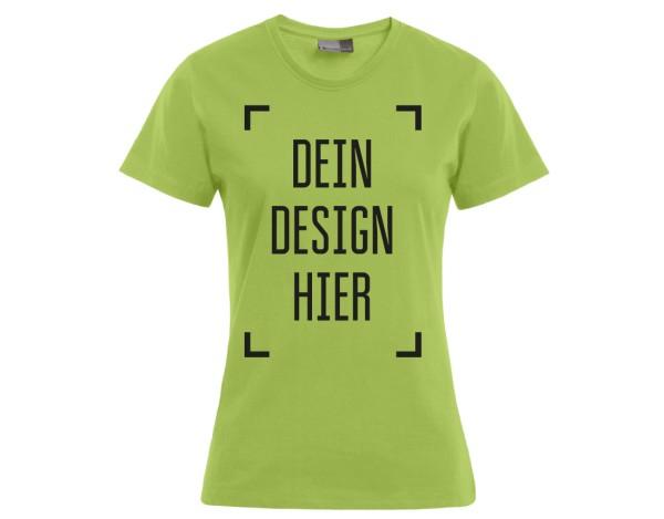 Premium Damen T-Shirt Wilde Limette - Flamingo Druckparadies