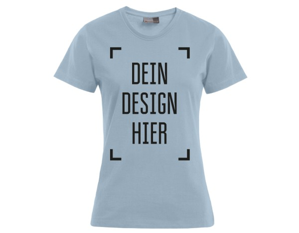 Premium Damen T-Shirt Babyblau - Flamingo Druckparadies