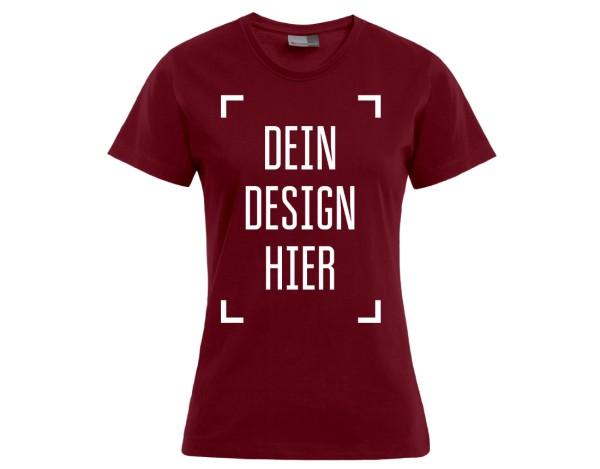 Premium Damen T-Shirt Kirschrot - Flamingo Druckparadies