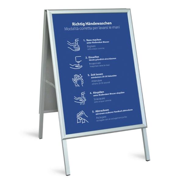 Kundenstopper DIN A1 - Richtig Händewaschen (blau)