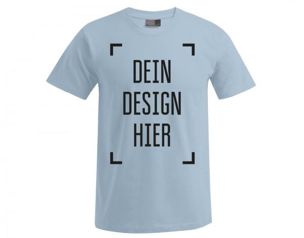 Premium Herren T-Shirt Babyblau - Flamingo Druckparadies