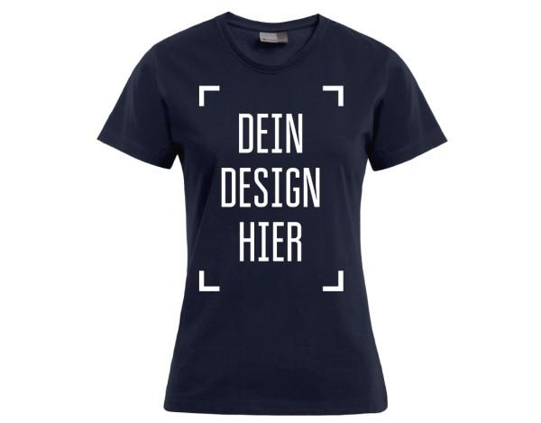 Premium Damen T-Shirt Marineblau - Flamingo Druckparadies