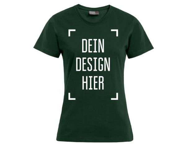 Premium Damen T-Shirt Waldgrün - Flamingo Druckparadies