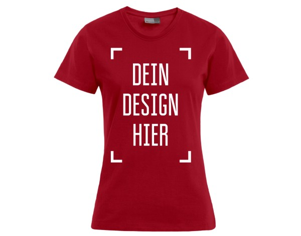 Premium Damen T-Shirt Rot - Flamingo Druckparadies