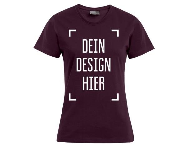 Premium Damen T-Shirt Burgund - Flamingo Druckparadies