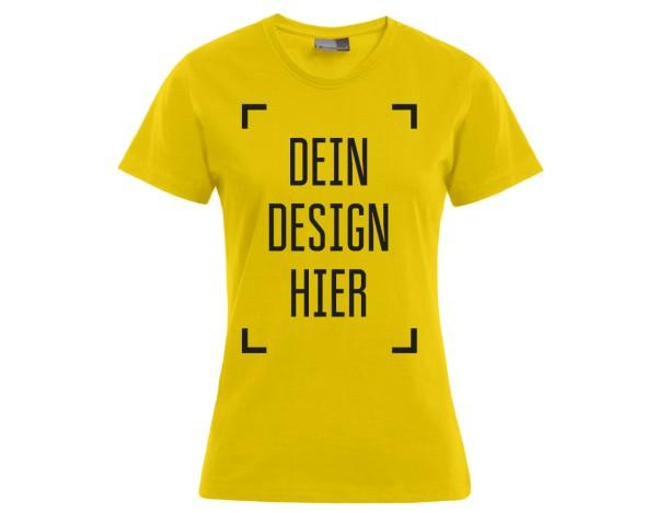 Premium Damen T-Shirt Gelb - Flamingo Druckparadies